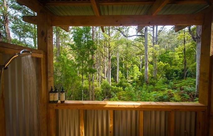 Bruny Island luxury camp outdoor shower