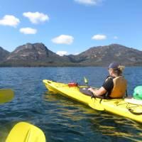 Kayaking in Coles Bay beneath the Hazards | Ashton Sayer