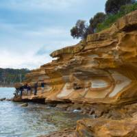 Stunning coloured rocks on the Maria Island walk | Tourism Tasmania and Rob Burnett