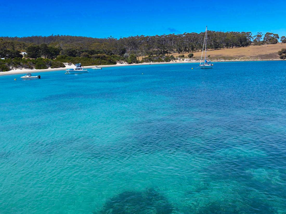 Crystal blue waters of Maria Island